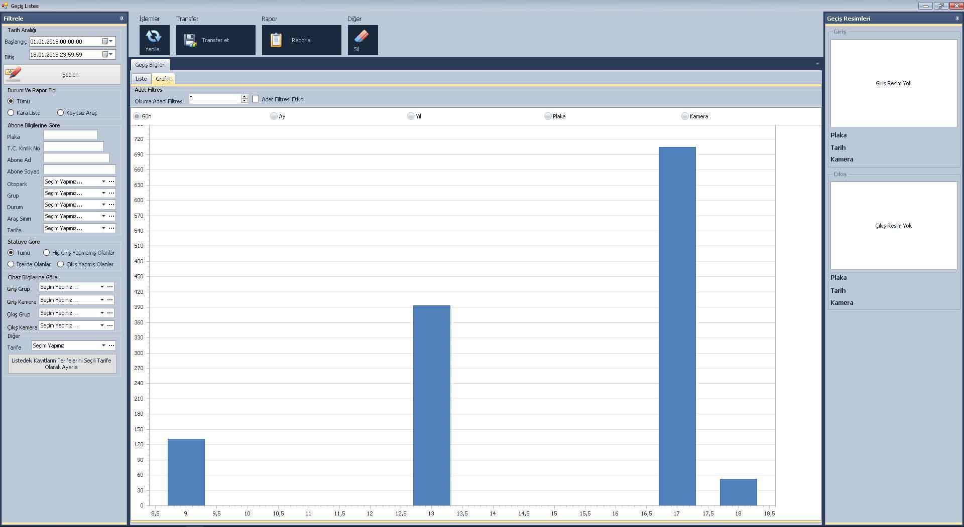 plaka tanıma sistemi grafik raporlama sistemi