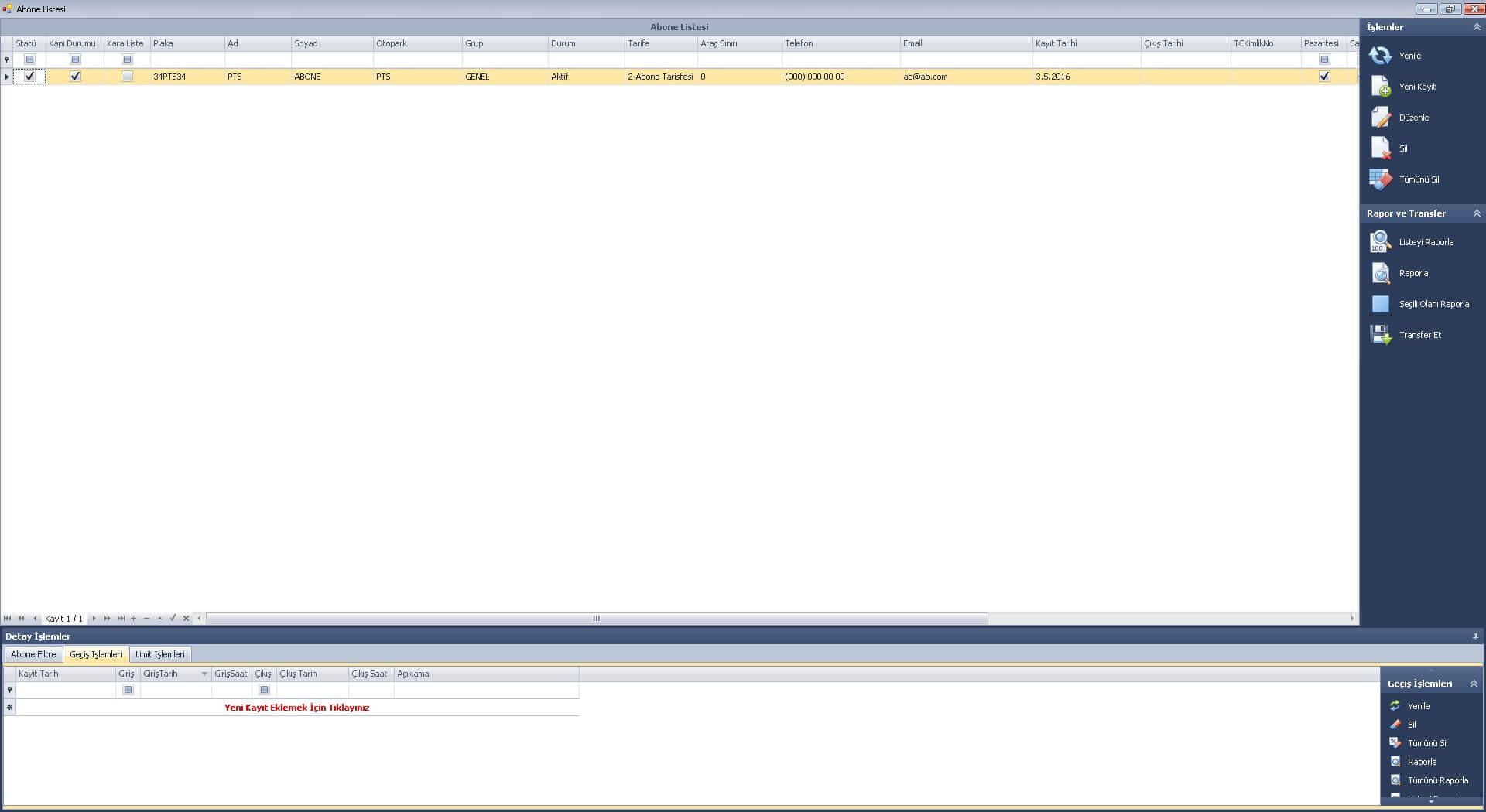 plaka tanıma sistemi yazılımı abone ekranı
